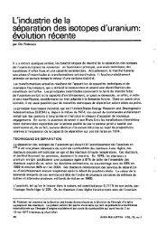 L'industrie de la séparation des isotopes d'uranium: évolution récente