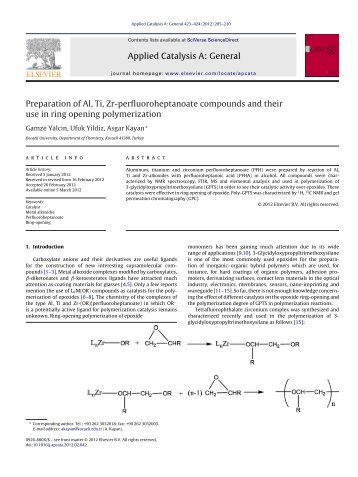 Preparation of Al, Ti, Zr-perfluoroheptanoate compounds and their ...