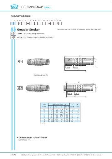 Gerader Stecker ODU MINI-SNAP Serie L