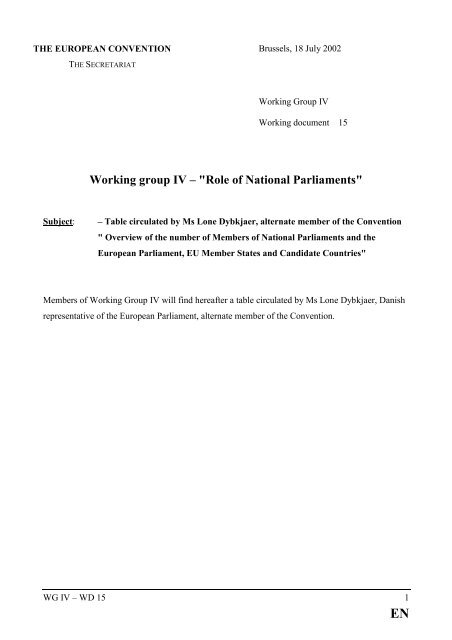"""Working group IV – """"Role of National Parliaments"""" - Europa"""
