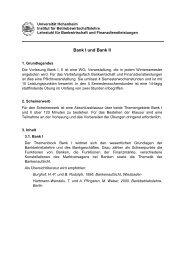 Universität Hohenheim - Lehrstuhl für Bankwirtschaft - Universität ...