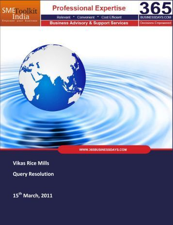 Vikas Rice Mills Query Resolution 15 March, 2011 - SME Toolkit India