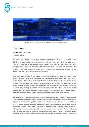 PRESS RELEASE FOR IMMEDIATE RELEASE December 5, 2012 Ho Chi Minh ...