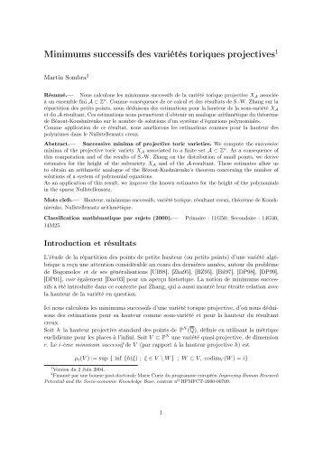 Minimums successifs des variétés toriques projectives1