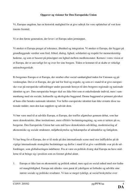 Endelig tekst vedtaget af ungdomskonventet - Europa