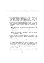 Esercizi sulle distribuzioni, il teorema limite centrale e la stima ...