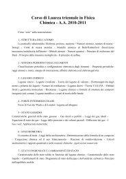 Corso di Laurea triennale in Fisica Chimica - A.A. 2010-2011