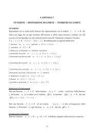 CAPITOLO 7 FUNZIONI - DEFINIZIONE DI LIMITE - TEOREMI SUI ...