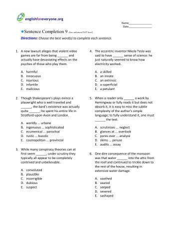 Sentence Completion Answer Key - English for Everyone