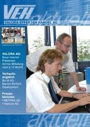 finden Sie das neue VEH Aktuell - Valora Effekten Handel AG