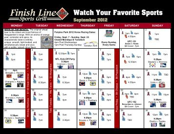 Watch Your Favorite Sports September 2012 - Finish Line Sports Grill