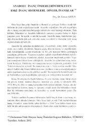 Anadolu İnanç Önderlerini Besleyen Eski İnanç Sistemleri, Dinler ...
