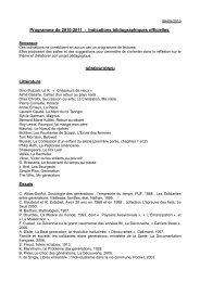 Programme de 2010-2011 - Indications bibliographiques officielles ...