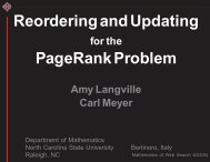 Updating and Reordering for the PageRank Problem - Carl Meyer ...