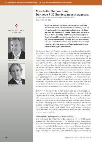 Mitarbeiterüberwachung - Strafverteidiger Rainer Brüssow & Dirk Petri