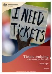 Ticket Scalping: Ticket onselling and consumers - Australian ...