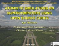 atomistic simulations on supercomputers using open source codes