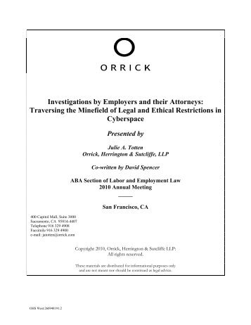 Investigations by Employers and their Attorneys - American Bar ...