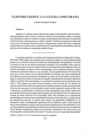 CLIFFORD GEERTZ: LA CULTURA COMO DRAMA