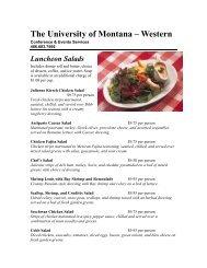 Luncheon Salads - The University of Montana Western