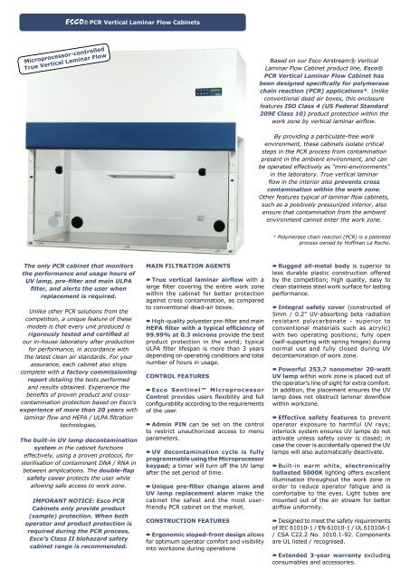 Esco 174 Pcr Vertical Laminar Flow Cabinets Based On Our Esco