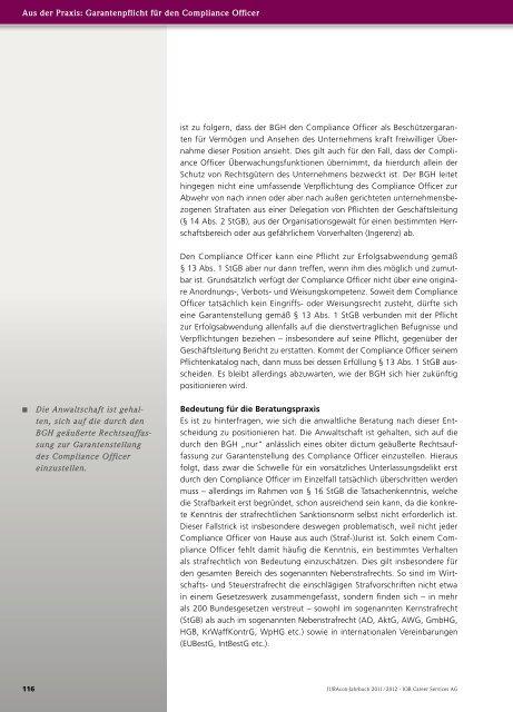 Die strafrechtliche Garantenstellung des Compliance Officer
