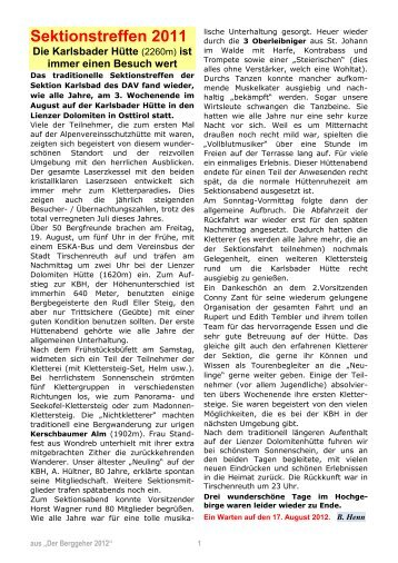 Bericht Sektionstreffen 2011 - DAV Karlsbad