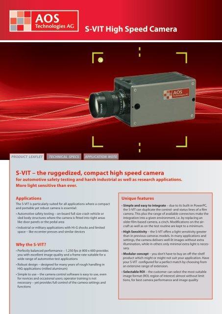 S-VIT High Speed Camera - AOS Technologies AG