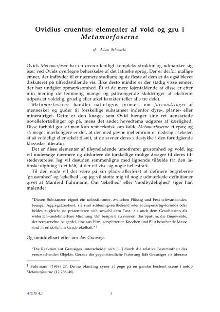 Ovidius cruentus: elementer af vold og gru i Metamorfoserne - Aigis