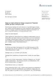 TV SYD A/S El-vej 2 b 6000 Kolding Att. Hans Egon Lorenzen Klage ...