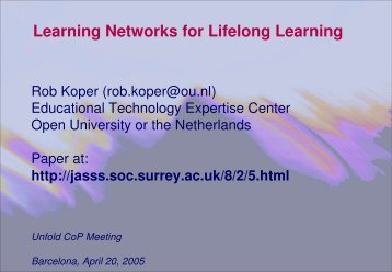 Learning Networks for Lifelong Learning - DSpace at Open Universiteit