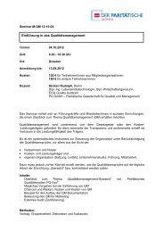 Einführung in das Qualitätsmanagement - PARITÄTISCHE Sachsen