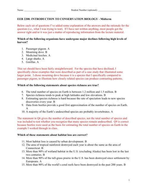 EEB2208 (2013) Midterm key pdf - Ecology & Evolutionary Biology