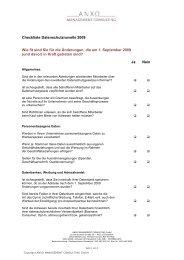 Checkliste Datenschutznovelle 2009 Wie fit sind Sie für die ...