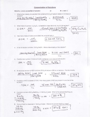Molarity Practice Worksheet