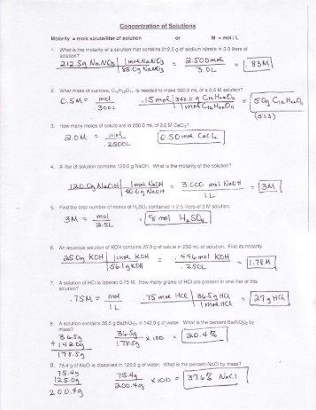 Worksheet: Molarity Name______________ CHEMISTRY
