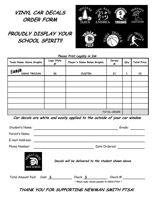 vinyl decal order form  Vinyl Decal Order Form