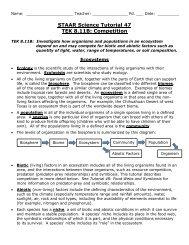 STAAR Biology Blueprint with TEKS