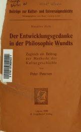 Der Entwicklungsgedanke in der Philosophie Wundts, zugleich ein ...
