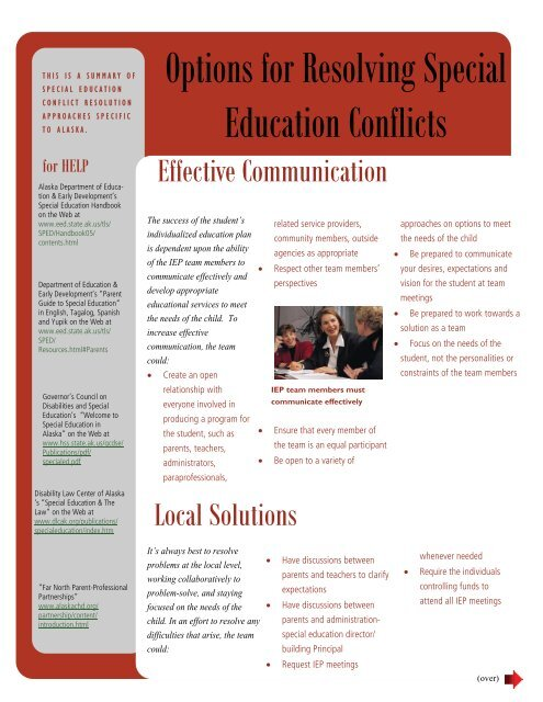 Parents As Equal Participants In Team >> Options For Resolving Special Education Conflicts Alaska