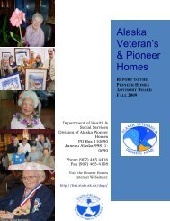 Alaska Pioneer Homes Advisory Board Report - Fall 2009