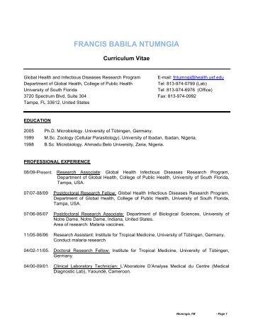 Curriculum Vitae - USF Health - University of South Florida