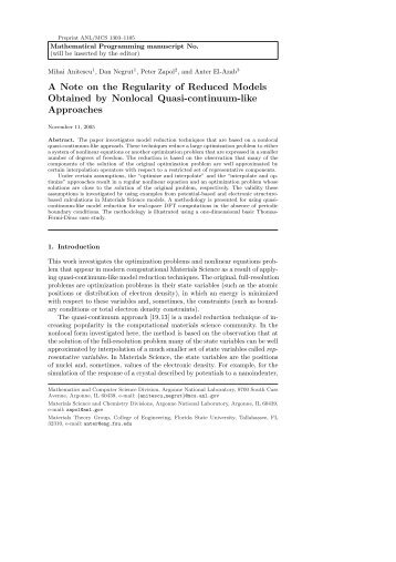 Mathematical Programming manuscript No.