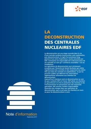 NOTE deconstruction - Energie EDF