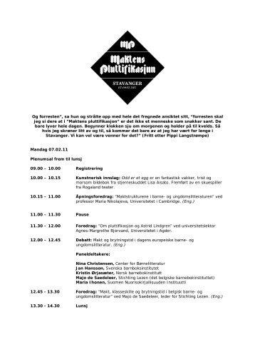 Last ned hele programmet for konferansen - Norsk Barnebokinstitutt