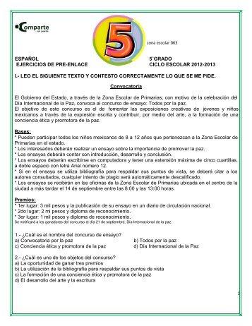 español 5˚grado ejercicios de pre-enlace ciclo escolar ... - Webgarden