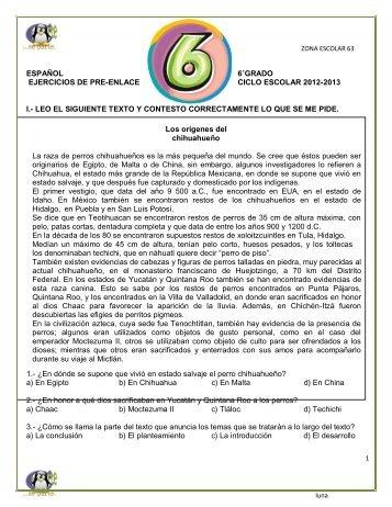 español 6˚grado ejercicios de pre-enlace ciclo escolar ... - Webgarden
