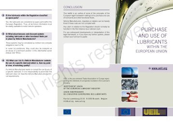 Purchase and use of lubricants within the European Union - UEIL