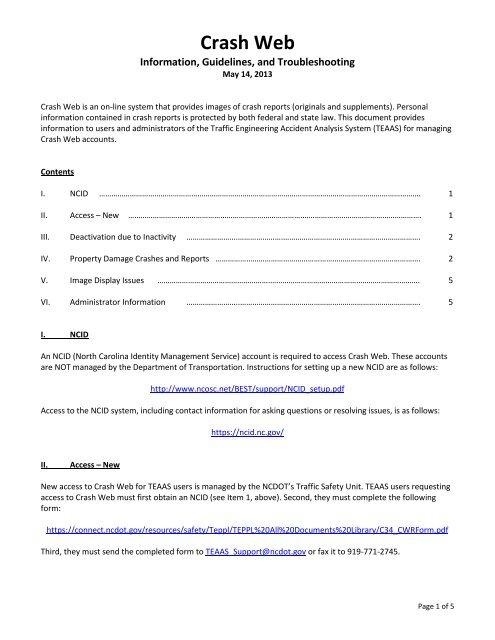 DMV CrashWeb Information pdf - Connect NCDOT
