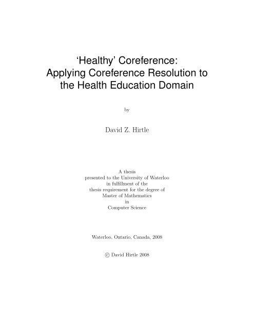 'Healthy' Coreference - UWSpace - University of Waterloo